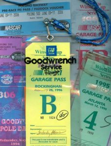 Garage and pit passes from the 1990s