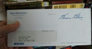 My response from U.S. Sen. Thom Tillis, winner of my letter-writing derby