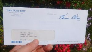 Another return letter from Sen. Tillis -- more proof that either he or his staff can't read